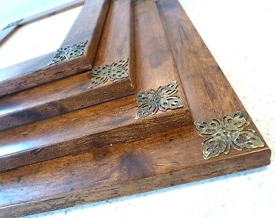 Antique Vintage Rustic Wood Effect Photo Picture Frame Brass Filigree Corners