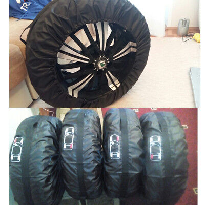 """4 Pcs Car Spare Tyre Tire Protection Cover Carry Storage Bags 13""""-16"""" Sedan Car"""