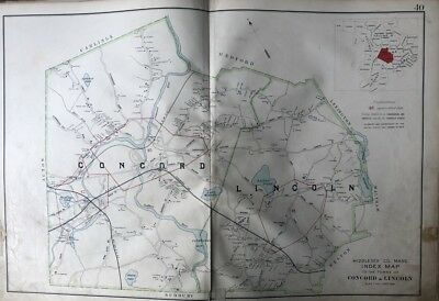 1906 Middlesex County Massachusetts Concord & Lincoln Towns Sandy Pond Atlas Map