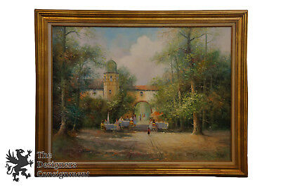 """56"""" Framed Impressionist Oil Painting Colletti French City Landscape 1896-1973"""