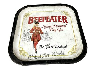 Antique Beefeater Distilled Small Vintage Metal Memorabilia Serving Tray HB 0171