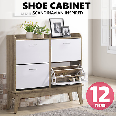 NOBU Extra Large Shoe Cabinet w/ 4 Components Drawers Storage Organiser Shelves
