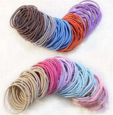 100/50PCS Candy Color Hair Ropes Elastic Rubber Hair  Bands For Adult Kids Girl