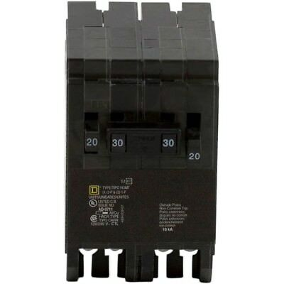 Square D Homeline Single-Pole 1-30 Amp Two-Pole Quad Tandem Circuit Breaker