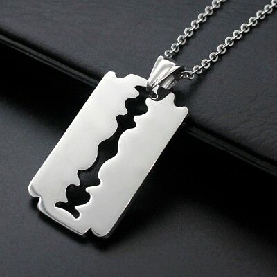 1Pc Stainless Steel Silver Tone Razor Blade Hot Men Favorite Pendant Necklace