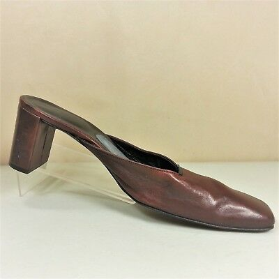 7ba45a4e7bf ROBERT CLERGERIE Womens Burgundy Leather Chunky Heel Mules Shoe Size 8.5B  France