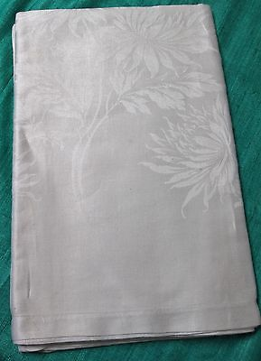 Antique Large Linen Damask Tablecloth Lush Florals Silky Fabric Hand Hemmed