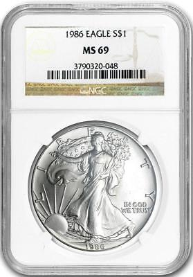 1986 $1 American Silver Eagle 1 oz NGC MS69. PLEASE READ FREE $1.00 SILVER CERT