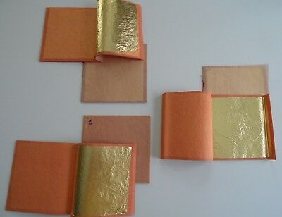 "6 partial books of unmarked loose gold leaf 3 3/8"" sheets, old stock"