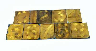 Vintage Thin Brass letterpress decorative 10 numbers - 0 to 9