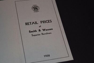Rare 1938 Smith & Wesson Firearms Co. Price List
