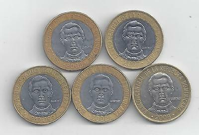 5 BI-METAL 5 PESO COINS from the DOMINICAN REPUBLIC (1997/2002/2005/2007/2008)