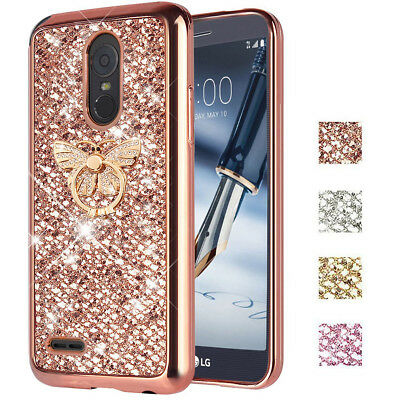 For LG Stylus 3 / Stylo 3 Plus Glitter shockproof Case Cover+ Butterfly Stand