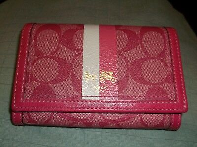 Authentic Coach Khaki/Pink Heritage Striped Small Wallet