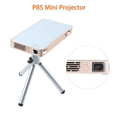 Mini DLP Projector Full HD 1080P Airplay Mirroring Home Theater White w/Tripod