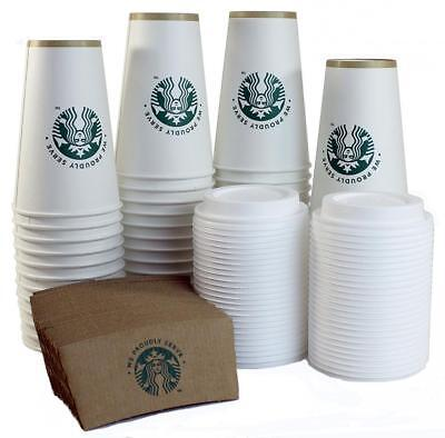 Starbucks White Disposable Hot Paper Cup, 16 Ounce, Sleeves and Lids (Pack...