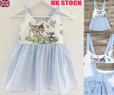 UK Baby Girls Princess Beach Dress Casual Sundress Clothes Unicorn Dresses Top