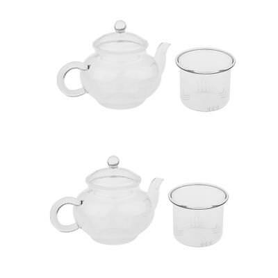 2x Tea Pot Coffee Pot Glass Infuser Teapot Set Cup And Strainer Clear 250ml
