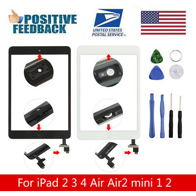Digitizer Glass Touch Screen + Home Replacement For iPad 2 3 4 Air 1 mini 1 2 3