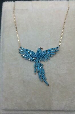 925 Sterling Silver Jewelry Micro Pave Turquoise Stone Bird  Necklace
