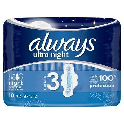 Always Ultra Night Size 3 with Wings - 10 Pads 1 2 3 6 12 Packs
