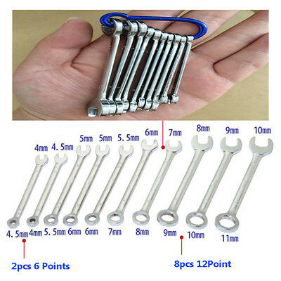10Pcs Mini Combination Wrench Set 4-11mm Metric Small Engineer Spanner