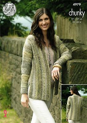 813392f3a24097 King Cole 4979 Knitting Pattern Womens Cardigan and Sweater in Cotswold  Chunky