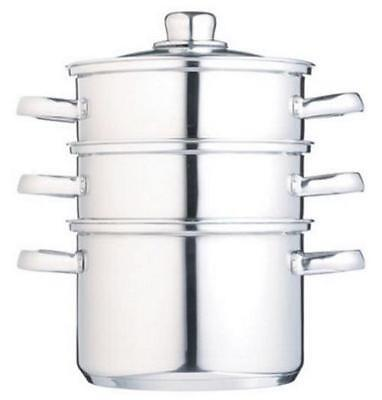 Stainless Steel Steamer With Glass Lid Set 3 Tiers All Hob Types Induction Safe
