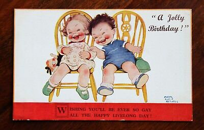 Mabel Lucie Attwell Postcard Jolly Birthday Greetings Children Laughing Heartily