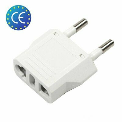 1x Reise Stecker Adapter US USA, AU, EU to EU Euro Europe, Weiß