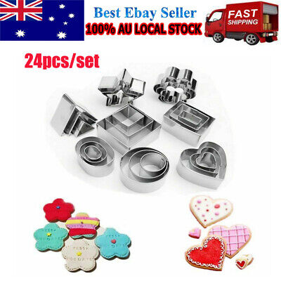 24 Pcs Baking Mini Cookie Cutters Durable Geometric Shapes Metal Biscuit Cutters