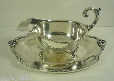 1847 Rogers Bros 1941 Eternally Yours Sauce Gravy Boat w/ Underplate Silverplate
