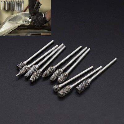10x Tungsten Steel Solid Carbide Burrs Kit set For Dremel Rotary Tool Drill Bit