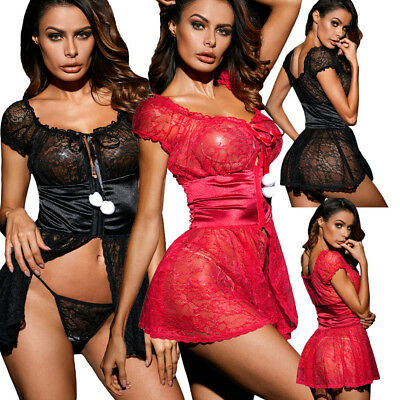 Babydoll pizzo donna perizoma sexy lingerie intimo notte chemise pon-pon DS31087