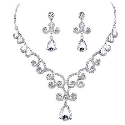 Stylish Diamante Crystal Teardrop Pendant Necklace And Earrings Jewelry Sets