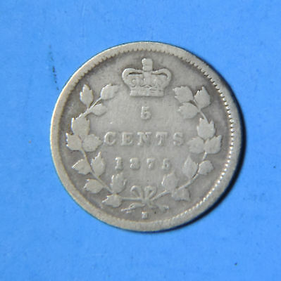 1875 H 5/5 Small Date Canada Victoria Silver 5 Cents Coin Key Date