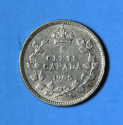 1905 Canada Edward VII Silver 5 Cents Coin AU Almost Uncirculated Half Dime