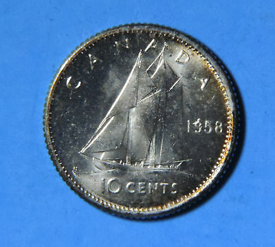 1958 Canada Elizabeth II Silver 10 Cents Coin GEM BU Brilliant Uncirculated UNC