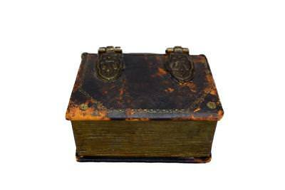 French Antique Book Leather Bound Book Box with Fleur de Lis