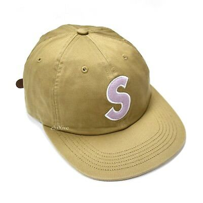4023ebbf1 NWT SUPREME NY Tan Classic Purple S Logo Strapback Dad Hat Cap SS18 DS  AUTHENTIC