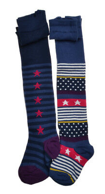 2 pairs of Stars & Stripe Baby Tights - Cotton 18-24 months