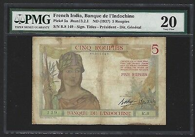 1937 French India 5 Roupies, VERY RARE 1st DATE P-5a, PMG 20 VF FINEST GRADED