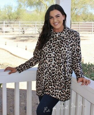 19fa5c8e73883 Plus Size Leopard Animal Print Turtleneck Loose Relaxed Tunic Shirt 1X 2X  3X Usa