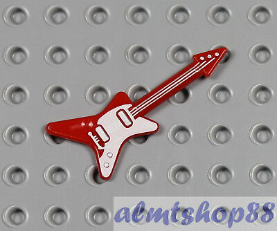 Figure Accessory Music NEW LEGO Guitar Electric Plain Red x1 10255 10260