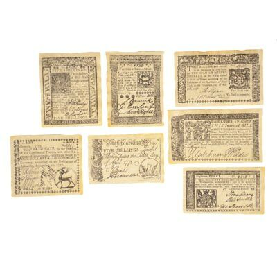 Colonial British Revolutionary Currency Set Paper Money Six Pence Five Shillings