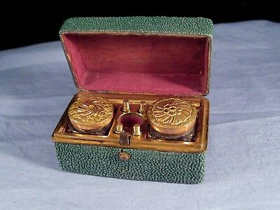 GEORGIAN ANTIQUE 1700s GOLD INKWELL DIP PEN TRAVELLING WRITING COMPENDIUM BOX