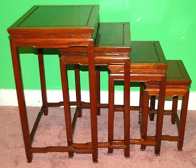 Antique CHINESE NESTING TABLES Teak Wood Mahogany Set of 4 Stacking End Table