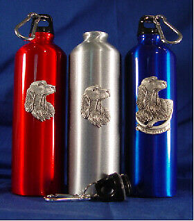 One Stainless Steel Silver Water Bottle with Pewter Irish Setter New in Box