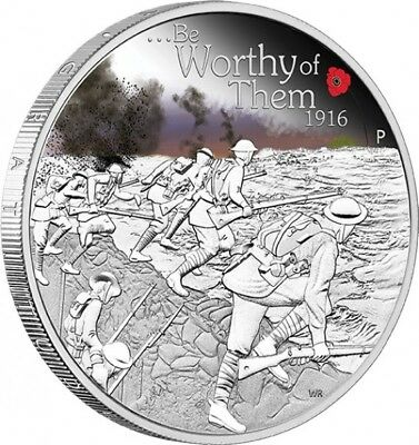 2016 $1 ANZAC SPIRIT 100th ANNIVERSARY BE WORTHY OF THEM 1oz Silver Proof Coin