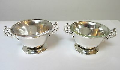 Antique Pair Solid Silver Salts Glass Liners London 1899